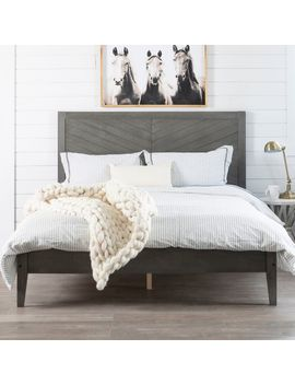 Gray Chevron Solid Wood Queen Bed by Pier1 Imports