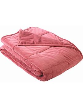 "Sedona House Weighted Micromink Fabric Fleece Bedding Blanket And Cover (Red, Queen 60""X80"") by Sedona"