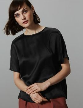 Pure Silk Round Neck Short Sleeve Shell Top by Marks & Spencer