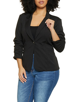 Plus Size Ruched Sleeve Textured Knit Blazer by Rainbow