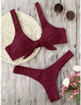 Hot Scrunch Butt Knotted Thong Bikini   Burgundy Xl by Zaful