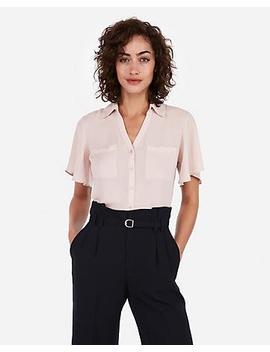 Slim Fit Flutter Sleeve Portofino Shirt by Express
