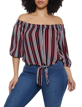 Plus Size Tie Front Off The Shoulder Striped Top by Rainbow