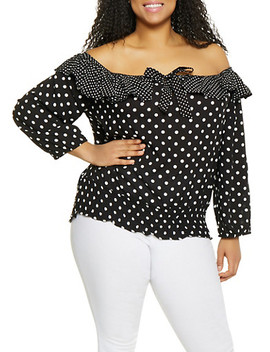 Plus Size Off The Shoulder Ruffled Top by Rainbow