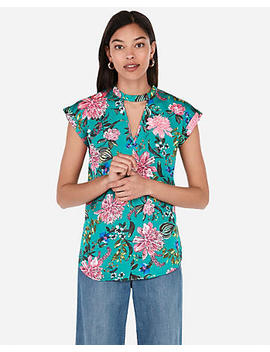 Floral Satin Choker Neck Gramercy Tee by Express