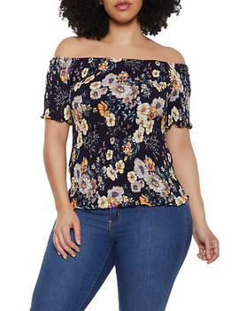 Plus Size Floral Smocked Off The Shoulder Top   8407064467553 by Rainbow
