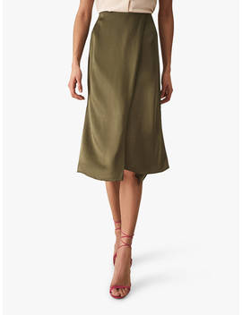 Reiss Amalie Satin Skirt, Green by Reiss