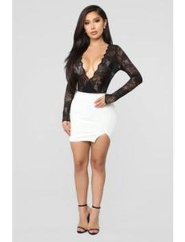 Risque Ponte Mini Skirt   White by Fashion Nova