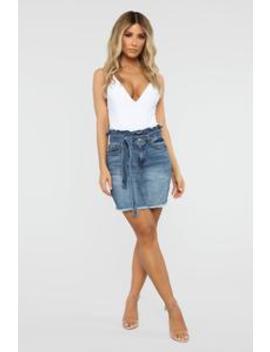 Flipped The Switch Skirt   Dark Wash by Fashion Nova