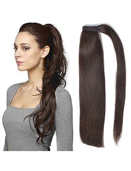 "18"" Straight Ponytail Hair Extension Human Hair Wrap Ponytail Hairpiece 100g Dark Brown 2# by Beauty Plus"