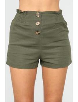 Girl In The Mirror High Rise Button Shorts   Olive by Fashion Nova