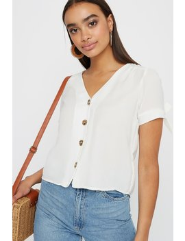V Neck Button Up Tie Short Sleeve Blouse by Urban Planet