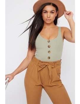Ribbed Button Sleeveless Bodysuit by Urban Planet