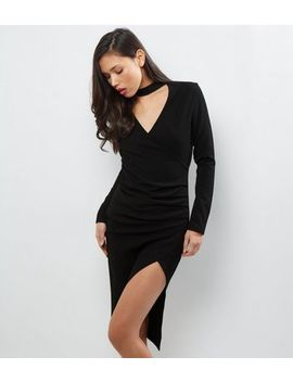 Black Choker Neck Wrap Front Long Sleeve Dress by New Look