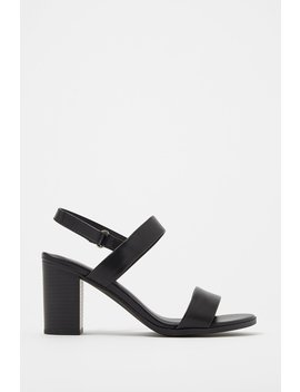 Double Strap Faux Leather Heel Sandal by Urban Planet