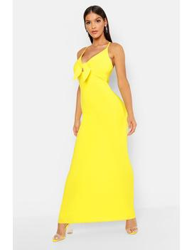 Tie Front Crepe Maxi Dress by Boohoo