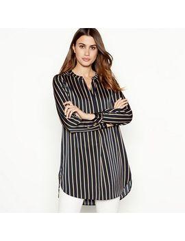 Principles   Black Pinstripe Longline Shirt by Principles