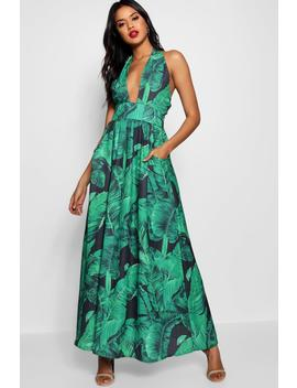 Maggie Palm Print Plunge Halterneck Maxi Dress by Boohoo