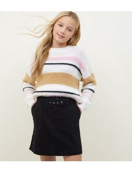 Girls Black Belted Denim Utility Skirt by New Look