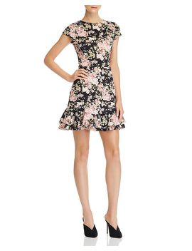 Cap Sleeve Flounced Floral Dress   100 Percents Exclusive by Aqua