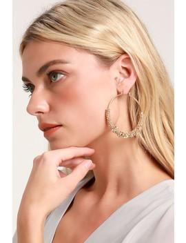 Zinnia Gold Beaded Hoop Earrings by Lulus