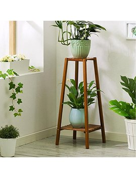 Magshion Bamboo Tall Plant Stand Pot Holder Small Space Table (2 Tier) by Magshion