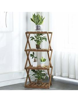 Sunnyglade 4 Tier Foldable Flower Rack Plant Stand Wood Shelf Multipurpose Utility Storage Rack Books Picture Frames Shelves For Yard Garden Patio Balcony Bedroom by Sunnyglade