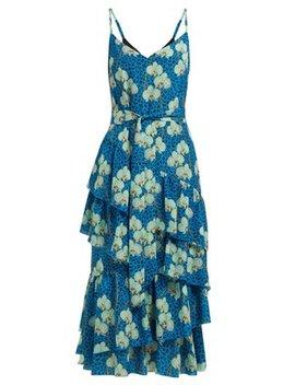 Coco Orchid And Leopard Print Crepe Midi Dress by Borgo De Nor