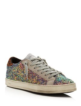 Women's John Glitter & Suede Lace Up Sneakers by P448
