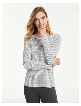 Plaid Fitted Boatneck Sweater by Ann Taylor
