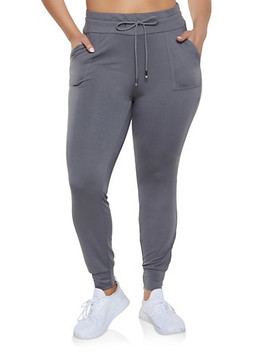 Plus Size Solid Drawstring Waist Joggers by Rainbow