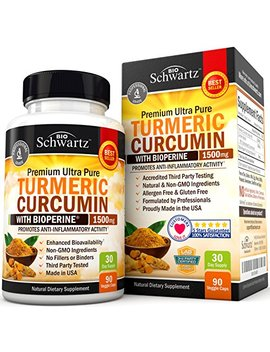 Turmeric Curcumin With Bio Perine 1500mg. Highest Potency Available. Premium Pain Relief & Joint Support With 95 Percents Standardized Curcuminoids. Non Gmo, Gluten Free Capsules With Black Pepper. by Bio Schwartz