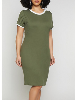 Plus Size Soft Knit T Shirt Dress by Rainbow