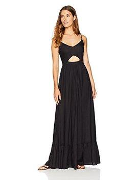 Wild Oasis Beachwear Women's V Neck Spaghetti Strap Cut Out Solid Maxi Dress by Wild Oasis+Beachwear