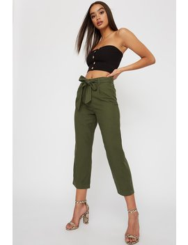Linen High Rise Belted Cropped Pant by Urban Planet