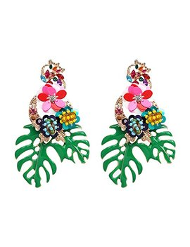 Lureme Gorgeous Colorful Sequin Flower Palm Leaf Stud Earrings For Women And Girls (Er006023) by Lureme