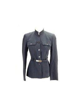 Prada 1994 Rare Dark Grey Blazer Army With Leather Buckle Belt by Etsy