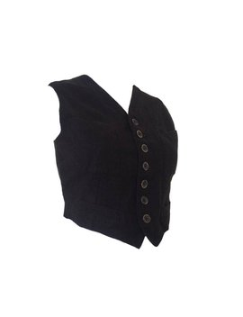 Jean Paul Gaultier Wool Black And Grey Ribbed Waist Coat by Etsy
