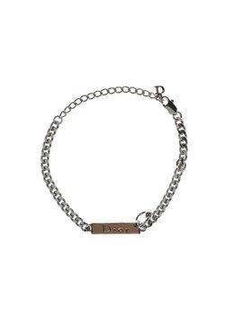 Christian Dior Pierced Pink Monogram Cuban Silver Chain by Etsy