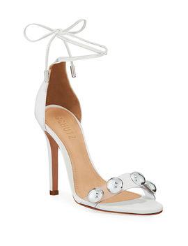 Ramon Studded Vinyl Ankle Tie Sandals by Schutz