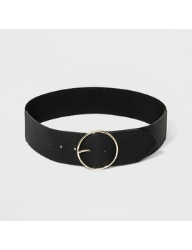 Women's Round Buckle With Stretch Belt   A New Day™ Black by A New Day