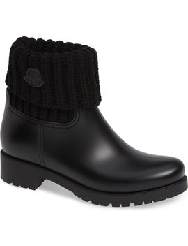 Ginette Stivale Knit Cuff Water Resistant Rain Boot by Moncler