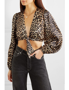 Blakely Cropped Tie Front Leopard Print Silk Blend Satin Top by Ganni