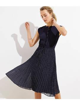 Geo Pleated Henley Dress by Loft