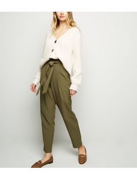 Tall Khaki Tie Waist Tapered Trousers by New Look