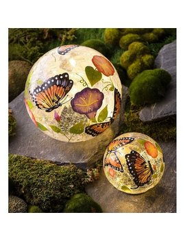 Butterfly Crackle Glass Solar Globes, Set Of 2 by Generic