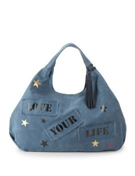 Denim Patch Hobo Bag by Peace Love World