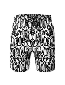 sara-nell-mens-snake-skin-graphic-black-breathable-beach-board-shorts-swim-trunks-quick-dry by sara-nell
