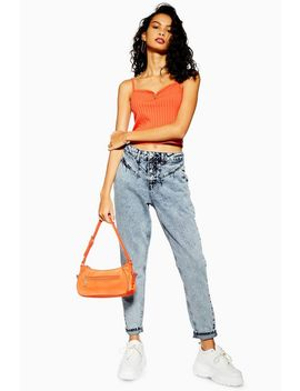 Grey Pleat Mom Jeans by Topshop