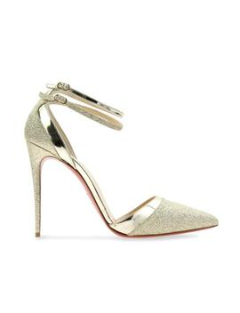 Gold Uptown Double 100 Glitter Ankle Strap Sandal Stiletto Heel Pumps by Christian Louboutin